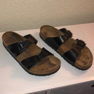 Birkenstock's Black Leather Sandals Size 39 8-8.5